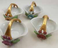 4 Vintage Made in Japan Miniature Flower Baskets Gold Handle Nut Cups Candy Dish