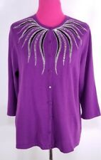 BOB MACKIE Womens Cardigan Sweater Size L Purple Sequin Embroidered Button Down