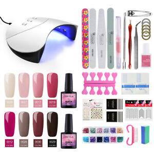 COSCELIA Gel Polish Nail UV Gel Colour Set 36W LED Lamp Top Base Pink DIY Tools