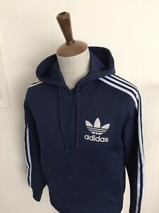 RETRO ADIDAS HOODED TRACKSUIT TOP SIZE SMALL BLUE