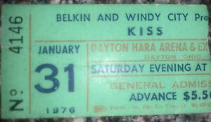 Vintage 1976 KISS Hara Arena Dayton OH Concert Ticket Stub 1/31/76 Leslie West