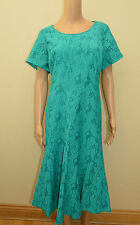 New M&S Classic Aqua Blue Floral Textured Cutwork Dress Sz UK 16