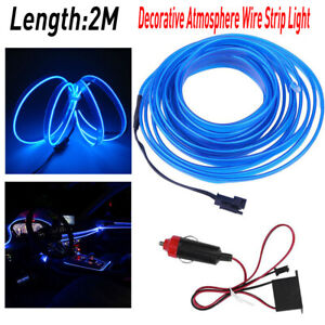2M Car Auto Interior LED Decor Wire Strip Atmosphere Cold Light Blue Universal A