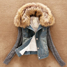 Womens Warm Fleece Lined Jean Jacket Coat Winter Thick Fur Collar Denim Outwear