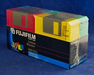 "Fujifilm Floppy Disk 2HD IBM 3.5"" Colored Formatted 40 Disks Fuji New Sealed Box"