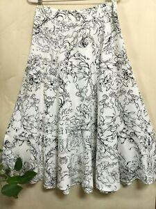 Soft Surroundings Women Petites Size M MP Maxi 6 Panel Skirt White Black