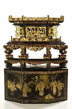 Antique Chinese Wooden Red Gilt Shrine Altar Box / Stand w Black Lacquer, 19th c