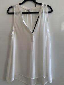 JOIE Women's Sleeveless White Silk Black Trim Blouse Medium New Without Tags