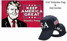 3'x5' Donald J Trump Keep America Great Flag & Usa Trump 45th Pres Navy Blue Hat