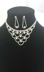 Women Fashion Silver Pearl Necklace Wedding, Party Wear UK Seller