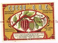 Unused 1940s BRASIL Sao Paulo Del Nero Cacao Licor Label
