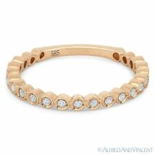 0.15ct Round Cut Diamond Wedding Band 14k Rose Gold Stackable Anniversary Ring