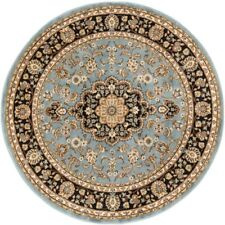 Light Blue Round Area Rug 5 ft. 3 in. x 5ft. 3in. Polyester Stain Resistant Rugs