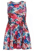 Womens Plus Size Multi Floral Print Sleeveless Scuba Skater Dress Sizes 16-26