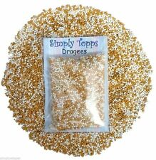 Gold & White Pearl Dragees 1mm (30g) Cake Decoration Sprinkles balls Cupcake