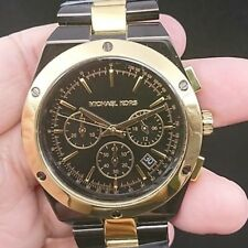 NEW OLD STOCK MICHAEL KORS REAGAN MK5995 2 TONE SS & GP QUARTZ WOMEN WATCH