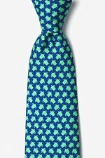 Men's Alynn 100% Silk Micro Sea Turtles Ocean Beach Turtle Necktie Tie