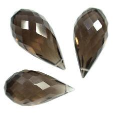 Natural Brown Smoky Quartz Drill Briolette Drops Set Earrings Pendant 26.80 Cts