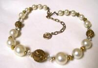 Vintage GLAMOR CHOKER NECKLACE-Filigree, Faux Pearl & Crystal Beads-c1950s