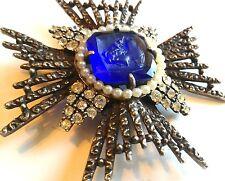 Vintage Estate Signed ART Cobalt Blue Cameo Rhinestone Pearl Brooch w/Bonus #12