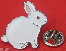 White Rabbit Lapel Hat Cap Tie Pin Badge Animal Lovers Bunny Brooch