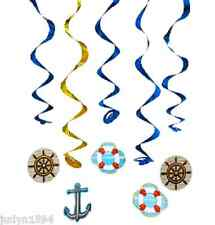 PACK 5 CRUISE SHIP SWIRLS NAUTICAL BON VOYAGE PARTY HANGING DECORATIONS SAILING