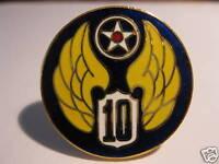US AIR FORCE  INSIGNIA- 10TH AIRFORCE ENAMEL METAL  PIN BADGE