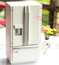 1:12 Dollhouse Miniature WOOD WHITE SILVER refrigerator W/ drawer Modern