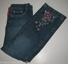 Esprit Denim Blue Jeans Embroidered Flowers Faded Distressed Girl's Size 6 NEW