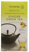 Clearspring giapponese organico Sencha Blend GINGER GREEN TEA 20 SACCHI 40g