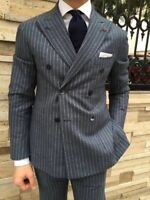 Men's Gray Striped Suits Wide Peak Lapel Double-breasted Formal Vintage Suits