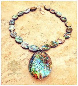 GENUINE ABALONE PUFFY PENDANT SEA OPAL NECKLACE SILVER or GOLD JEWELRY BRIDAL