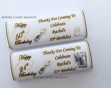 36 Personalised DIY Birthday Chocolate Bar wrappers 18th 21st 30th 40th 50th 60t