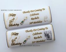 50 Personalised DIY Birthday Chocolate Bar wrappers 18th 21st 30th 40th 50th 60t