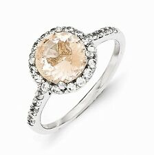 Cheryl M Sterling Silver CZ and Morganite Ring Size 7 #890