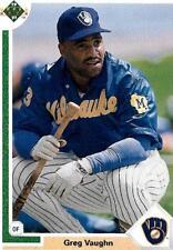 Greg Vaughn Milwaukee Outfielder 1991 Upper Deck # 526 15 yrs in MLB 1ST ROUND