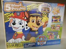Paw Patrol 5 Wood Jigsaw Puzzles Set + Wooden Storage Box 12 to 24 Pieces
