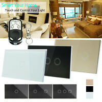 1/2/3Gang 1 Way Crystal Glass Panel Smart Touch Wall Light Switch Remote Control