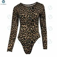 Womens Leopard Bodysuit Long Sleeve  Stretch Jersey Leotard Party Girls Top 8-18