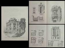 CANNES, VILLA L'ARMITELLE -PLANCHES ARCHITECTURE 1910-CAUVIN, 13 RUE 11 NOVEMBRE