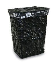 Cesta negra de mimbre pequeña para ropa sucia con tapa abatible (33x22x41 cm)