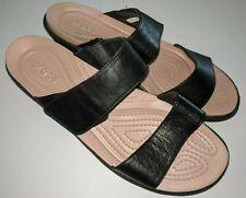 CROCS Black 2-Strap Wedge Slide Sandal Women's Size 10