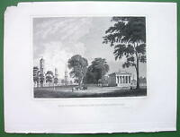 CONNECTICUT New Haven Yale College & State House - Antique Print Engraving