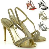 Womens Stiletto Heel Slingback Sandals Ladies Diamante Straps Party Bridal Shoes