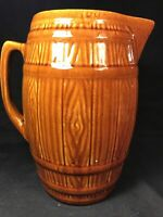 McCoy Pottery Old Rustic Stoneware 88 oz Large Brown Barrel Pitcher
