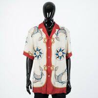 GUCCI 1400$ Nautical Print Oversized Silk Bowling Shirt