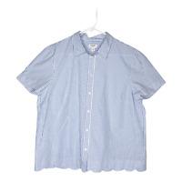 J Crew Women's Stripe Top Scallop Hem Short Sleeve Shirt White Blue Large NWT