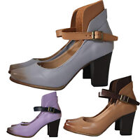 Womens High Block Heels Sandals Ladies Buckle Ankle Pointed Toes Shoes Party