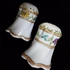Antique JAPAN Hand-Painted MORIAGE Floral NIPPON Salt & Pepper Shakers w/Mark