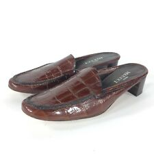 Sesto Meucci Brown Leather Slip On Mules Shoes Womens Sz 8.5 N Made In Italy